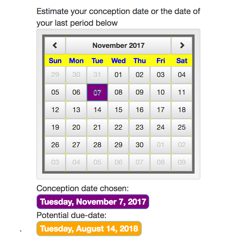 select a conception month tool